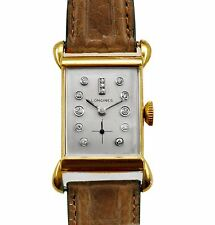Vintage 1940's 14k Gold Diamond Dial Longines men Watch Unusual Fancy Lugs