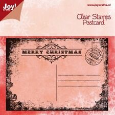 Joy Crafts  - Clear Rubber Cling Stamp - POSTCARD CHRISTMAS  - 6410/0113  *