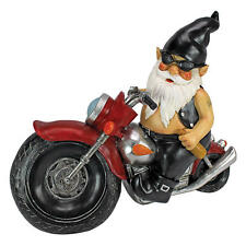 Bad to the Bone Tattoo Biker Gnome in Leather on Motorcycle Flame Tank Statue
