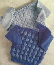 """Chunky Entrelac Knitting Pattern for Sweaters 22-28"""" Boys Girls 783"""