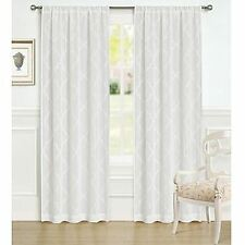Laura Ashley White Cream Windsor Window Panels Drapes Set 2 NEW 40x84