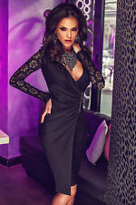 Black Laced Long Sleeves Asymmetric Splice Dress Size UK 8-10