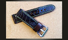 Ostrich Leather Handmade 26mm Watch Strap To Suit Panerai etc. Rich Dark Brown