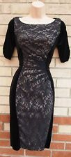 MARKS SPENCER BLACK VELVET FLORAL LACE PENCIL BODYCON FORMAL TEA DRESS 8 S