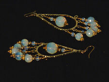 Gemstone Earrings - Mexican Opals w/ Gold-Plated Surg Steel - long chandeliers