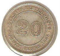 Offer 1935 Straits Settlements KGV 20cents coin very high grade.details! scare??