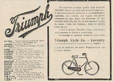 Z1346 Biciclette e Cicli a Motore TRIUMPH - Pubblicità d'epoca - 1909 Old advert