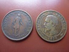 2 Coins 1837 Canada Un Sou Half Penny 1856D France 10 Centimes