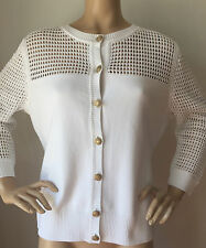 NEW ST JOHN KNIT L BRIGHT WHITE CARDIGAN SWEATER MILANO KNIT WITH NET DESIGN