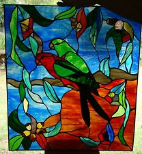 KING PARROT PAIR STAINED GLASS WINDOW FRONT ENTRANCEWAY DOOR original leadlight