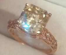 2.85CT Moissanite & Natural  Diamonds in 10K Solid Rose Gold  Ring