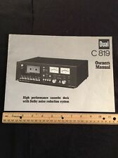 "Dual C819 Cassette Deck ""Original"" Owners Manual 6 Pages With Schematic A16"