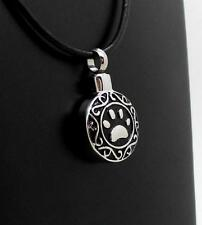 316L S/Steel Pet Paw Print Memorial Keepsake Cremation Urn Pendant Jewellery NIB
