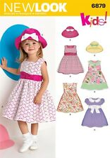 NEW LOOK  Sewing Pattern Children Clothing Girl Toddler Dress+Hat ~6879 Sz1/2-4