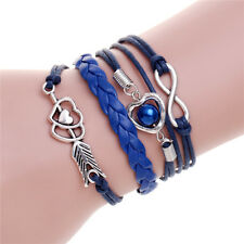 Couple Bracelet Silver Arrow Heart Imitation Pearl Rope Leather Braided Bracelet