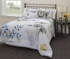 Black White Grey Yellow Blue Floral Paris 5 piece Comforter Set Queen Size