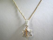 Star of David with Cross Necklace Sterling Silver & Gold Original Messianic