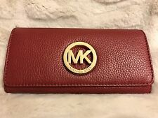 NWT MICHAEL KORS FULTON LEATHER FLAP CONTINENTAL WALLET IN CHERRY