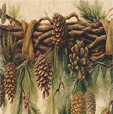 RUSTIC PINE CONES PINE BRANCH  DESIGN   COASTERS SET OF 4 FABRIC TOP / RUBBER