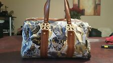 Use Tory Burch Printed Butterfly Nylon Satchel With Brown Leather Trim MSRP $375