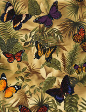 Butterflies on Leaves, Rain Forest Foliage, Timeless Treasures REMNANT (32 in)