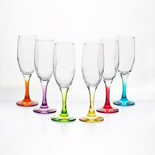 Boxed Misket coral Champagne Glasses Flutes 6 1/2 oz Box Of 6, Gift Boxed.