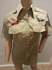 VTG 50's Duxbak Embroidered Birds Deer Hunting Camp Rockabilly Shirt Top