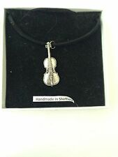 Cello PP-M07 Pewter Pendant on a  BLACK CORD  Necklace