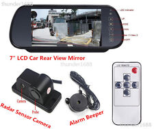 "Car 7"" LCD Mirror Monitor & 3-In-1 Backup Camera + Radar Sensor + Alarm Beeper"