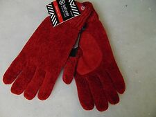 Isotoner Casual Chenille Knit Gloves Red Thinsulate Lined One Size #C165