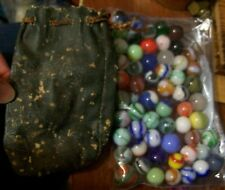 Lot Of Antique Vintage Assorted & Variety Marbles 60 PC GLASS SWIRL OLD TOYS BAG