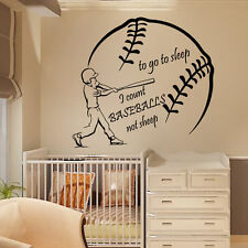 Wall Decal Quote Vinyl Sticker Baseball Player Boys Room Nursery Decor Art kk774