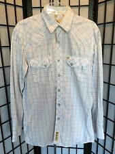 Larry Mahan Size Medium White, Blue & Rust Plaid L/S Pearl Snap Western Shirt