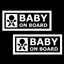 "2x White 7"" JDM Euro Cute Baby On Board Die-Cut Vinyl Decals Stickers Signs"
