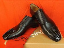 NIB LOUBOUTIN GREGOSSIC  BLACK LEATHER SPIKE CAP TOE LACE UP OXFORDS 41 8