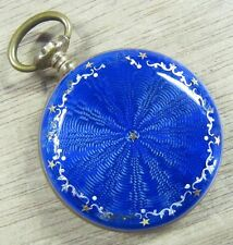 Antique Hirsch Blue Enamel Gold Star 30mm Ladies Pocket Watch - Parts/Project