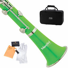 MENDINI GREEN ABS Bb CLARINET W/ CASE,CARE KIT,11 REEDS FOR STUDENT, BEGINNER