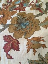 Linen/ Cotton Jacobean Palampore Fabric 2 Yards Pottery Barn Style Copper Blue