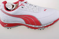 Puma Faas Trac Golf Shoes Waterproof Leather 3-9 1/2 inc 1/2's White/Pink/Silver