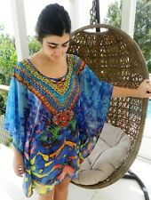 Embellished Kaftan Dress Top Blue Spicy Sugar Evening Cocktail Size 8 Last One