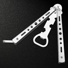 Silver Folding Practice Bottle Opener Balisong Butterfly Trainer Knife Tool