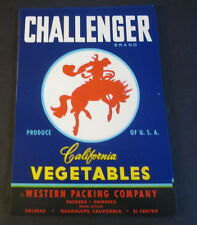 Wholesale Lot of 100 Old CHALLENGER Vege Crate LABELS - WESTERN Cowboy
