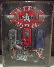 LAST STOP GASOLINE, PETROL PUMPS/BIKE ,VINTAGE-STYLE METAL  WALL SIGN, 40X30 CM
