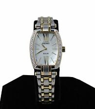 $495 Seiko Women's SUP284 Solar Diamond Accent Two-Tone Stainless Steel  Watch
