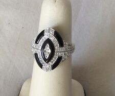 Art Deco 14K White Gold Diamond & Black Onyx Ring - Size 7.25