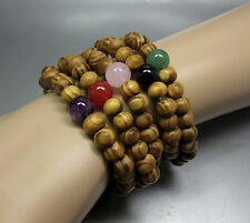 5 Wood Bead Stretch Bracelets W/ Gemstone Accent Bead - Fast Free US Shipping