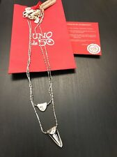 Uno De 50 Silver Necklace Layered Swarovski Pendant - New - Double Fantastic !!