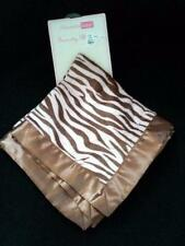 Vitamins Baby Security Blanket Pink Brown Zebra Tiger Animal Print W/ Satin Trim