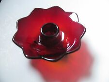 SINGLE FENTON RUBY RED GLASS LOTUS 3 TOED CANDLE HOLDER   AMBERINA