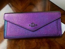 NWT Coach HOLOGRAM Purple Blue Pink Textured Leather Slim Soft Wallet Clutch #04